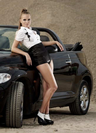 Fashion  vintage woman with cab car Stock Photo - 10479089