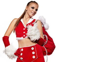 Happy cute girl in santa claus suit with gift bag over white Stock Photo - 10479095