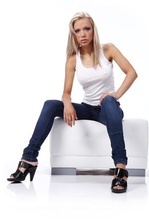 sexy füsse: Schöne Mädchen in blue jeans