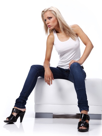 pies sexis: Hermosa chica en blue jeans