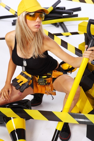 semi nude: Sexy blonde female construction worker
