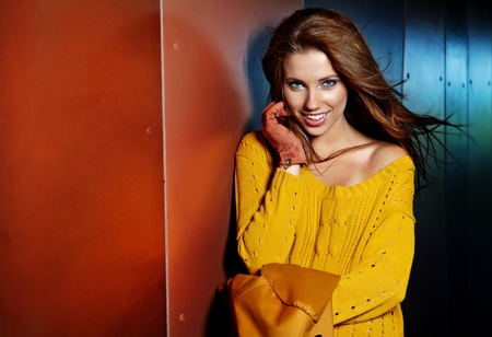 Fashion woman in autumn colors photo