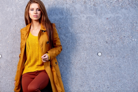 fashion: Woman in autumn city Stock Photo