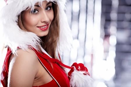 sexy christmas elf: Natale donna Archivio Fotografico