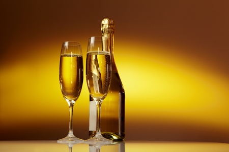 Champagne glasses on celebration table  Stock Photo