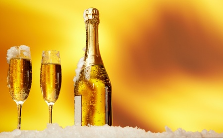 champagne flutes: New Year champagne in the  snow