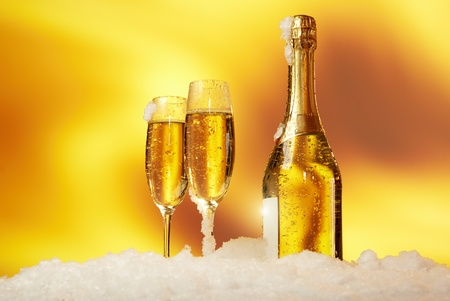 New Year champagne in the  snow Stock Photo - 10629878