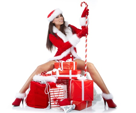 Christmas girl with gifts Stock Photo - 10625390
