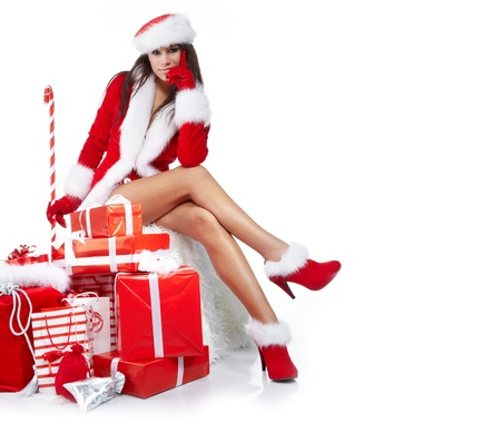 Christmas girl with gifts Stock Photo - 10625194