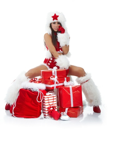 Christmas girl with gifts Stock Photo - 10625413