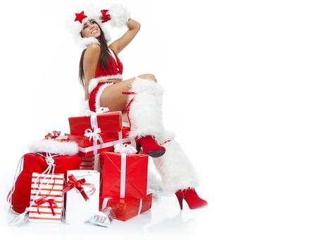 Christmas girl with gifts Stock Photo - 10625325