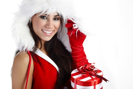 christmas woman with gifts box Stock Photo - 10625228