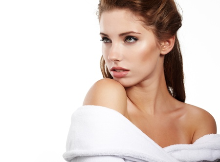 woman in towel: Portrait of beautiful woman before spa treatment