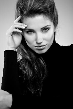 beautiful woman portrait, black and white