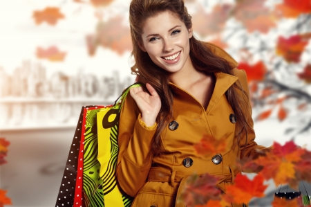 Woman and autumn shopping photo