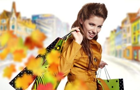 Woman and autumn shopping Stock Photo - 10678923