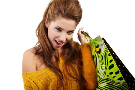 Photo of young sexy woman with shopping bags  photo