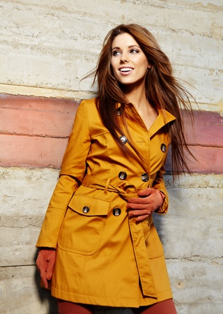 glamourous: young brunette woman portrait in autumn color