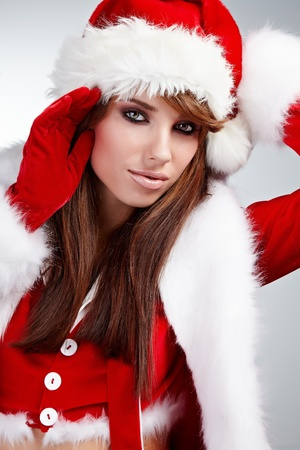 Beautiful Young Happy Christmas Woman over white Stock Photo - 10835200