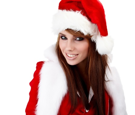 Beautiful Young Happy Christmas Woman over white  photo