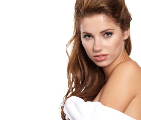 Beautiful woman in spa center on white background Stock Photo - 10835206