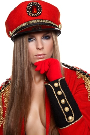 army girl: Sexy model wearing glamor uniform  Stock Photo