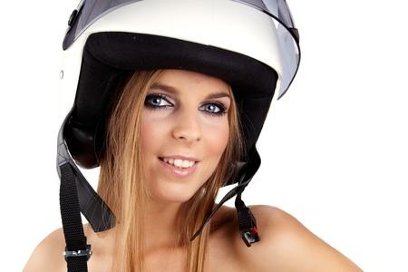 casco de moto: Mujer sexy con un casco blanco motrcycle y expresión sorprendido