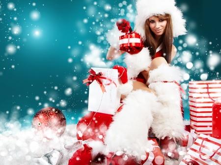 beautiful sexy girl wearing santa claus clothes Stock Photo - 10835218