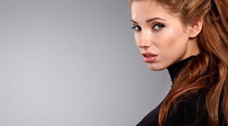 young brunette woman beauty portrait studio shot  photo