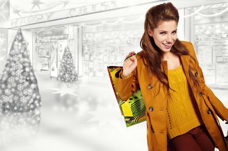 Woman and christmas shopping photo
