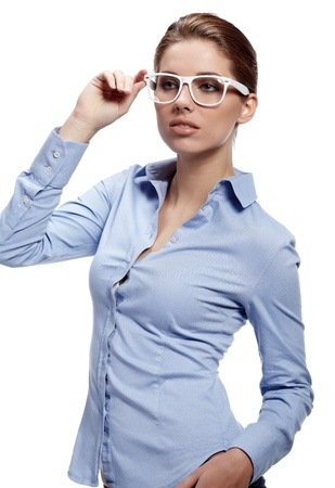 bussines: zakelijke vrouw in glazen
