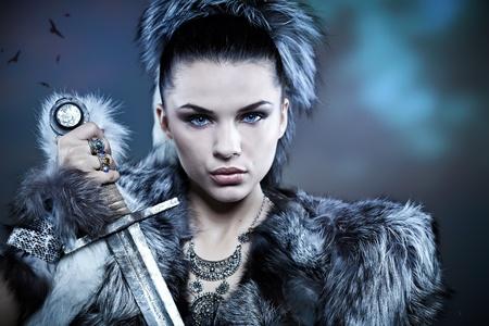 fantasy woman: Warrior woman. Fantasy fashion idea.