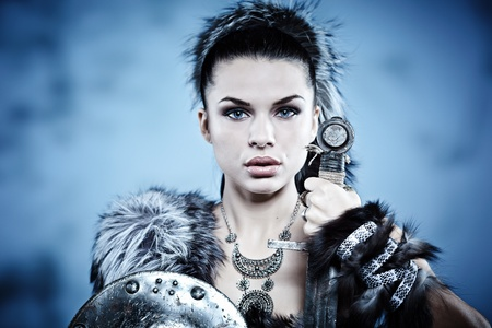 Warrior vrouw. Fantasie fashion idee. Stockfoto