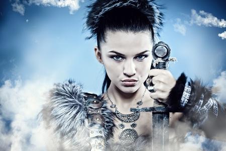 warrior woman: Warrior woman. Fantasy fashion idea.