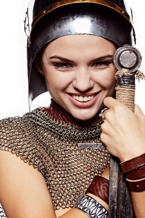 warrior woman: Smiling Warrior woman. Fantasy fashion idea. Stock Photo