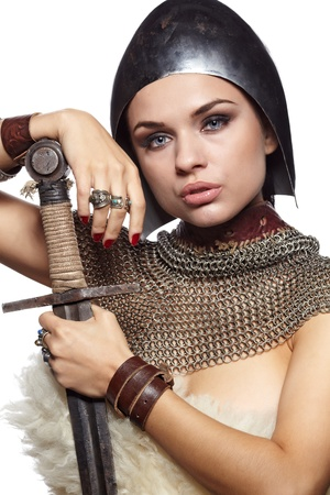 Portrait of a medieval female knight in armour Stock Photo - 11064750