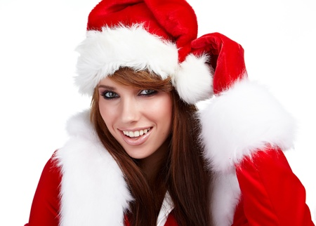 Young christmas woman isolated over white  background  photo