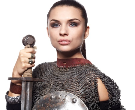 medieval knight: Portrait of a medieval female knight in armour