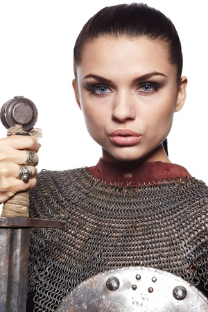 Portrait of a medieval female knight in armour Stock Photo - 11148632