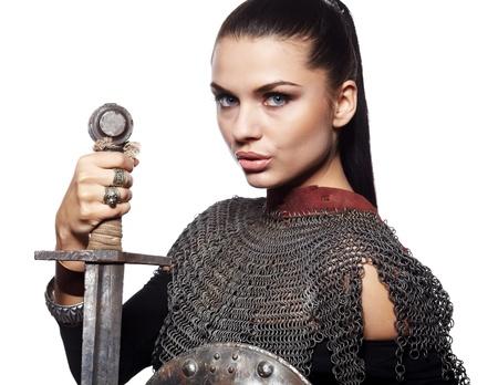 Porträt einer mittelalterlichen weibliche Ritter in der Rüstung