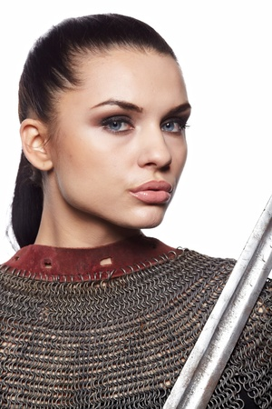 Portrait of a medieval female knight in armour photo