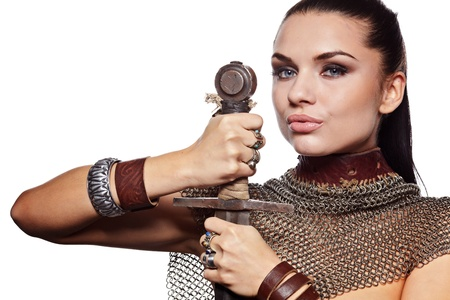 Portrait of a medieval female knight in armour Stock Photo - 11148630