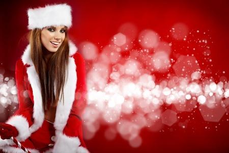 beautiful sexy girl wearing santa claus clothes Stock Photo - 11148669