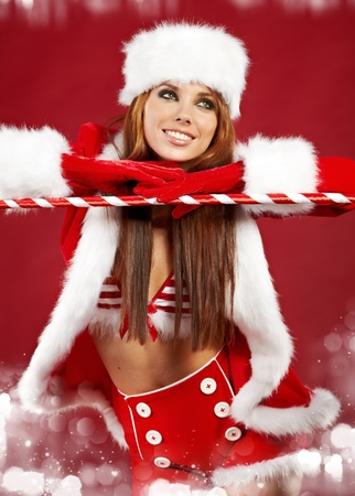 beautiful sexy girl wearing santa claus clothes  Stock Photo - 11148673