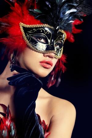 mascaras de carnaval: hermosa mujer con máscara Foto de archivo