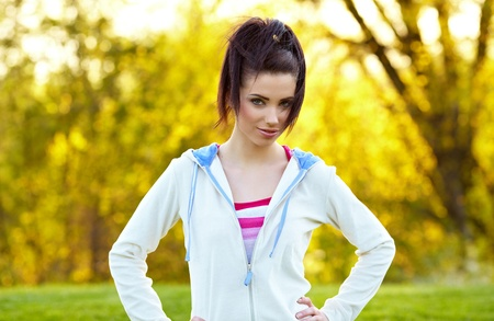 Fitness woman in park photo