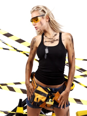 female construction worker: Female construction worker . Black and yellow concept.