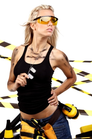 Female construction worker . Black and yellow concept. Stock Photo - 11292543