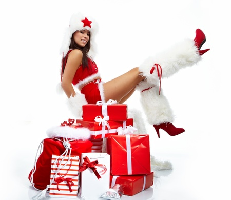 Christmas girl with gifts  photo