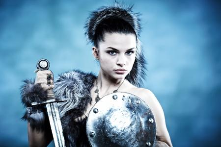 medieval warrior: Warrior woman. Fantasy fashion idea.  Stock Photo